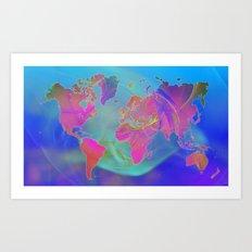 World Map Fractal Art Print