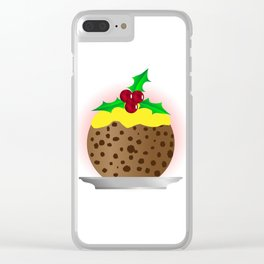 Christmas Pudding With Custard And Holly Sprig Clear iPhone Case