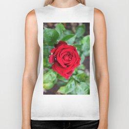 Single Red Rose Biker Tank