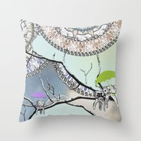 tooth Throw Pillows featuring Family Tooth by infloence