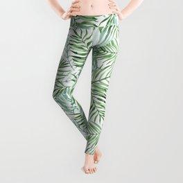 Watercolor palm leaves pattern Leggings