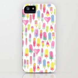 Watercolor Ice-cream and Popsicles iPhone Case