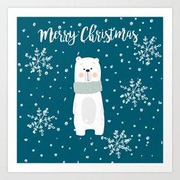 Cute Polar Bear Teal Art Print