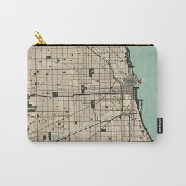 Chicago City Map of the United States - Vintage Carry-All Pouch