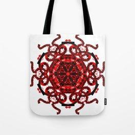 Red Abstract Mandala Star Tote Bag