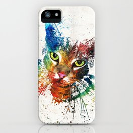 Colorful Cat Art by Sharon Cummings iPhone Case