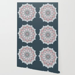 Expansion - boho mandala in soft salmon pink & blue Wallpaper