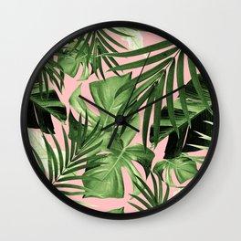 Tropical Jungle Leaves Pattern #11 #tropical #decor #art #society6 Wall Clock