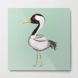 Cute crane watercolor Metal Print