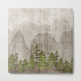 Mountain Range Woodland Forest Metal Print
