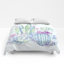 Mixed Cacti Light Blue #society6 #buyart Comforters