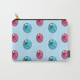 Faceted Oval Gemstones Pattern Carry-All Pouch