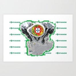Portuguese Biker soccer fan. Art Print
