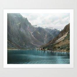 Village by the Lake & Mountains Art Print
