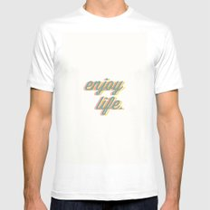 Enjoy Life White Mens Fitted Tee MEDIUM