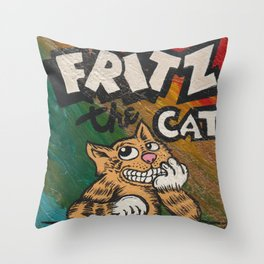 CULT ICON, FRITZ THE CAT by DAVID C*J BUNN Throw Pillow