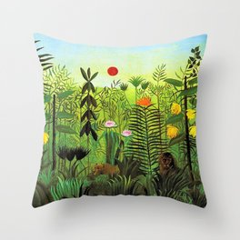 Exotic Jungle Landscape with Lion and Lioness by Henri Rousseau Throw Pillow