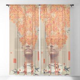 Bird Flight in Autumn Sheer Curtain