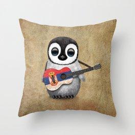 Baby Penguin Playing Serbian Flag Guitar Throw Pillow