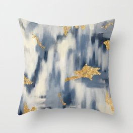 Blue and Gold Ikat Pattern Abstract Throw Pillow