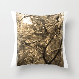 Tree of Hearts - Sepia Throw Pillow