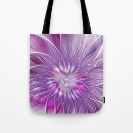 Pink Flower Passion, Abstract Fractal Art Tote Bag