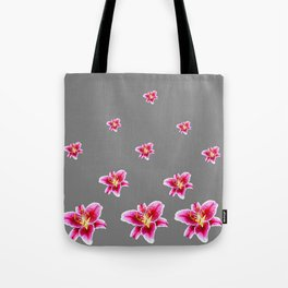 STRAWBERRY COLORED ASIAN LILIES GREY ART Tote Bag
