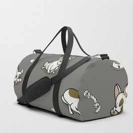 Sweet Frenchie Bulldog Puppies Pattern Grey Background Duffle Bag