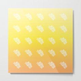 Botanical Pattern 2 in Sunglow Yellow Metal Print