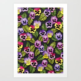 Purple, Red & Yellow Pansies With Green Leaves - Floral/Botanical Pattern Art Print