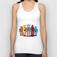 robots Tank Tops featuring robots by notbook