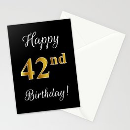 """Elegant """"Happy 42nd Birthday!"""" With Faux/Imitation Gold-Inspired Color Pattern Number (on Black) Stationery Cards"""