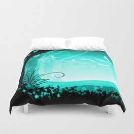 Dark Forest at Dawn in Aqua Duvet Cover