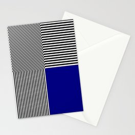 Geometric abstraction, black and white stripes, blue square Stationery Cards