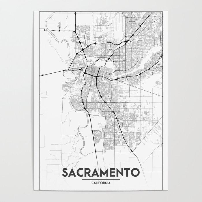 Minimal City Maps Map Of Sacramento California United States