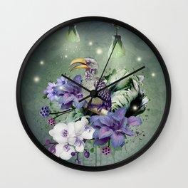 FLORAL MAGIC HORNBILL Wall Clock