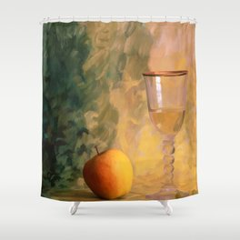 A glass of wine with an apple on a colourful painted background Shower Curtain