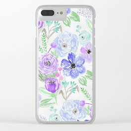 Hand painted lavender lilac blue watercolor flowers Clear iPhone Case
