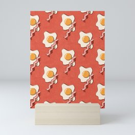 FAST FOOD / Egg and Bacon - pattern Mini Art Print