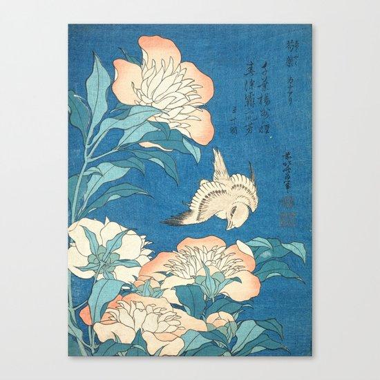 Japanese Flowers Turquoise Peach Canvas Print