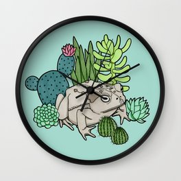 Toad with Succulents - Turquoise Wall Clock