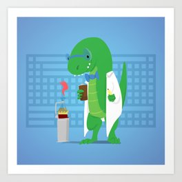 Dinosaur Scientist Art Print
