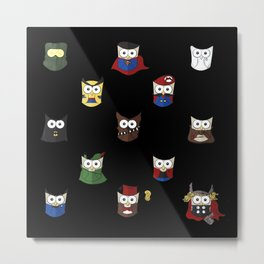 Nerd Boy (Owls) - Black Metal Print