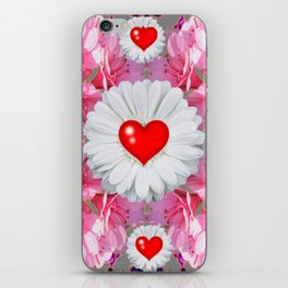 Red Hearts & White Floral Art iPhone Skin