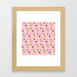 Corgi love - Pink Framed Art Print