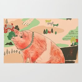Farm Animals in Chairs #3 Pig Rug