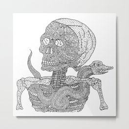 Skull & Snake Metal Print