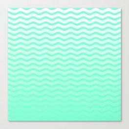 Aquamarine and White Faded Chevron Wave Canvas Print