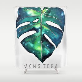 Monstera Leaf galaxy watercolor illustration Shower Curtain