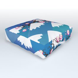 Spring Nature background with Japanese cherry blossoms, sakura pink flowers landscape. blue mountain Outdoor Floor Cushion